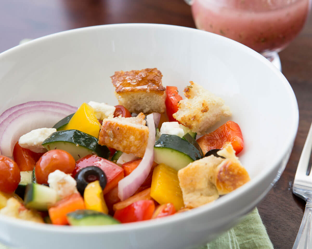 Greek Panzanella Salad with Cubed Feta