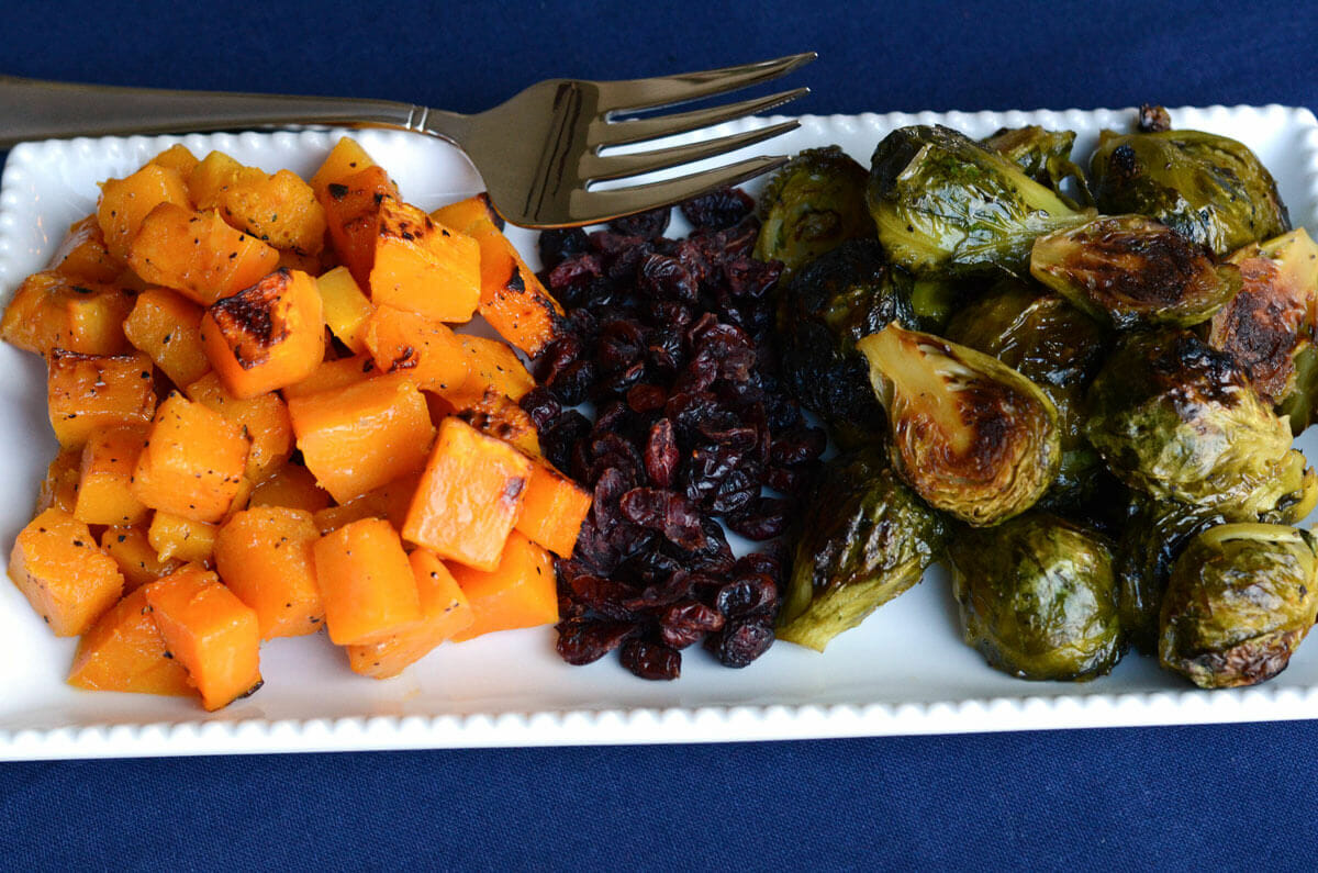 Maple Dijon Brussel Sprouts and Butternut Squash