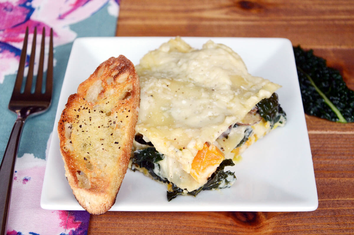 Winter Veggie Lasagna with Butternut Squash, Kale and Mushrooms