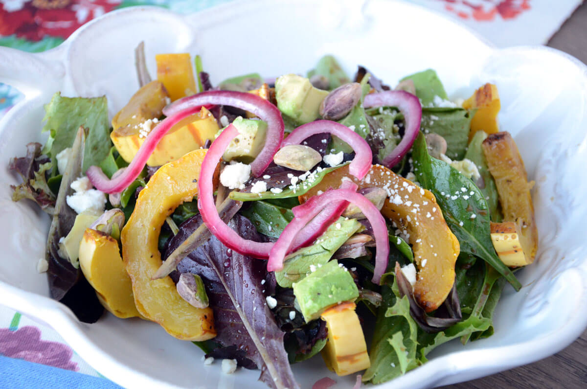 Fall Dinner Salad with Roasted Delicata Squash