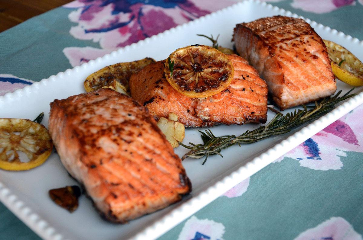 Pan seared Salmon with Lemon, Garlic and Rosemary