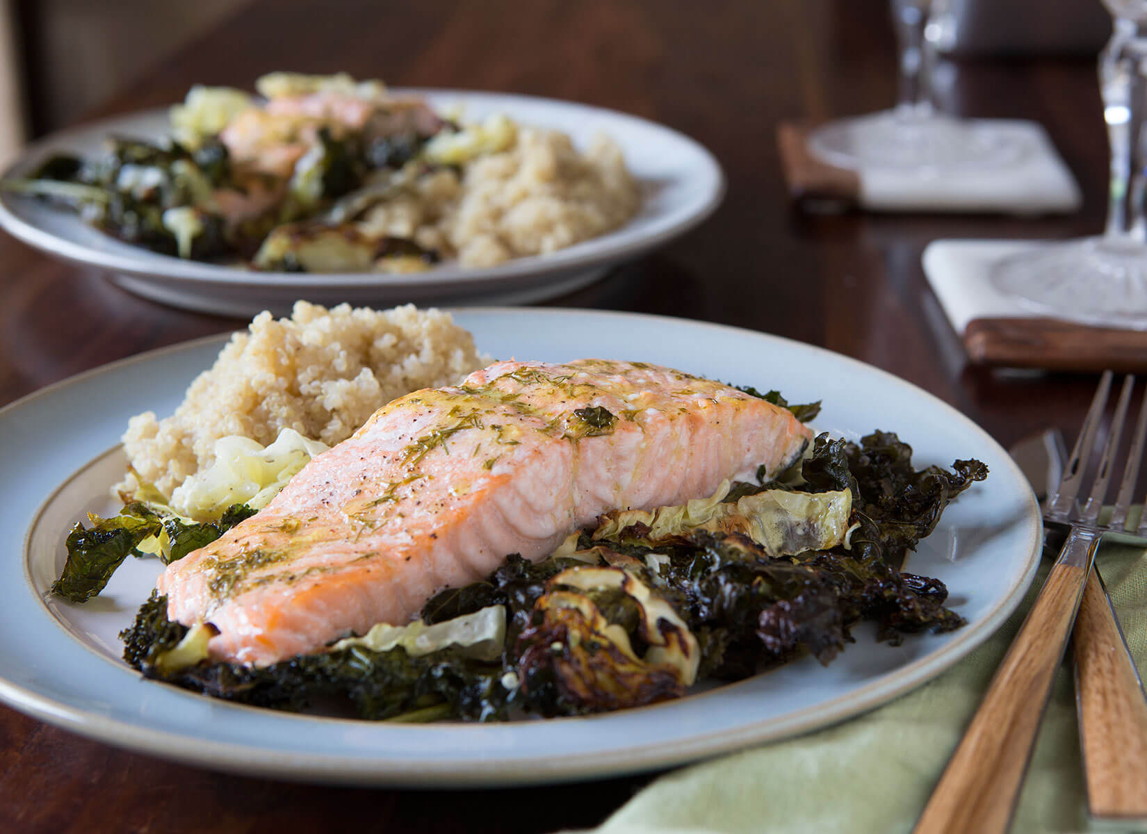 Salmon with Kale and Cabbage