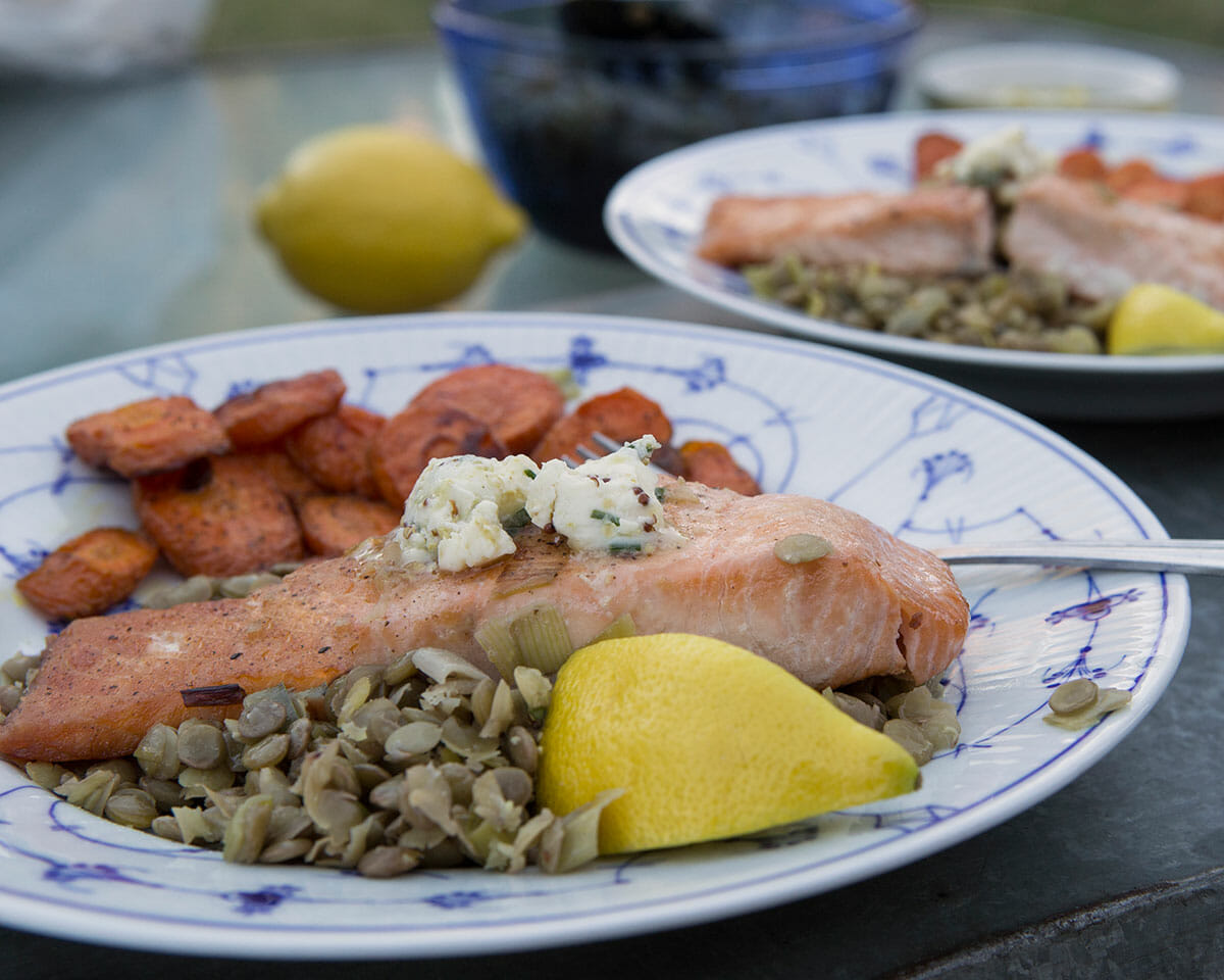 Pan Seared Salmon over Lentils