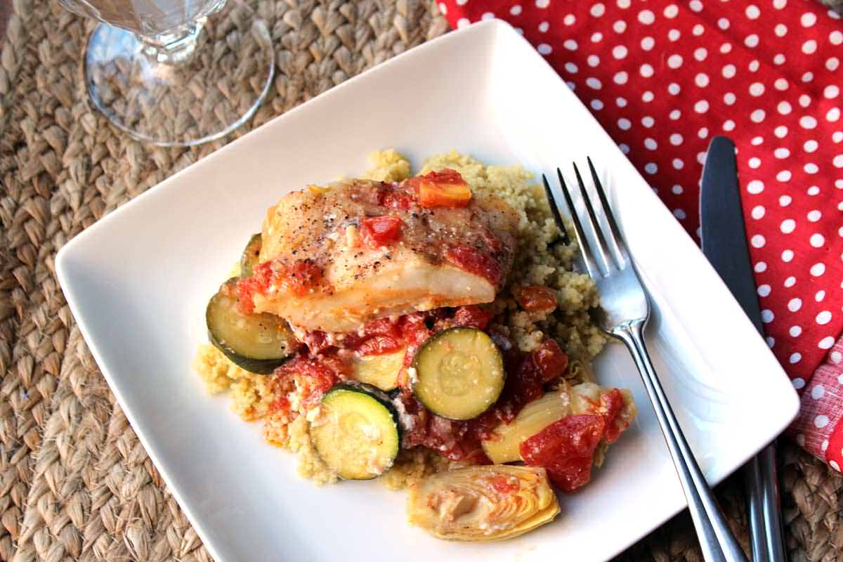 Sea Bas with Artichokes, Zucchini and Tomatoes