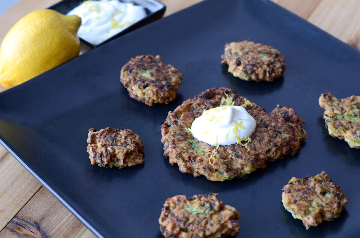 Zucchini Latkes with Lemon Zest Cream